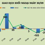 Phiên 30/9: Tiếp tục gia tăng tỷ trọng khi thị trường điều chỉnh, khối ngoại mua ròng gần 69 tỷ đồng