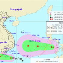 Hai áp thấp nhiệt đới cùng tiến vào Nam Bộ