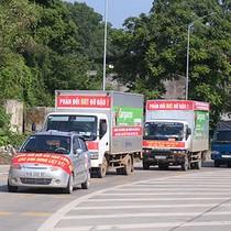 Người dân đi ôtô diễu hành phản đối trạm BOT ở Thái Nguyên