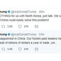 """Ông Trump """"thất vọng"""" về Trung Quốc trong vấn đề Triều Tiên"""