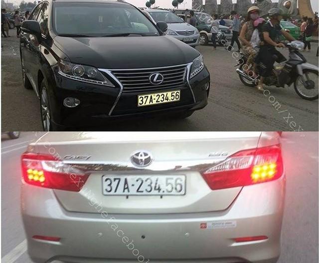 Hình ảnh xuất hiện 2 chiếc xe sang tiền tỷ cùng mang BKS: 37A-234.56 khiến người dân xôn xao.