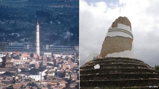 ThápDharahara, công trình tiêu biểu của Kathmandu trước và sau động đất. Ảnh: