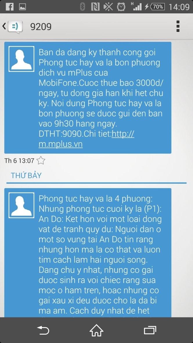 Anh M. ở Đà Nẵng cho biết mình không đăng ký sử dụng nhưng nhà mạng tự động gửi tin nhắn chúc mừng đã đăng ký thành công
