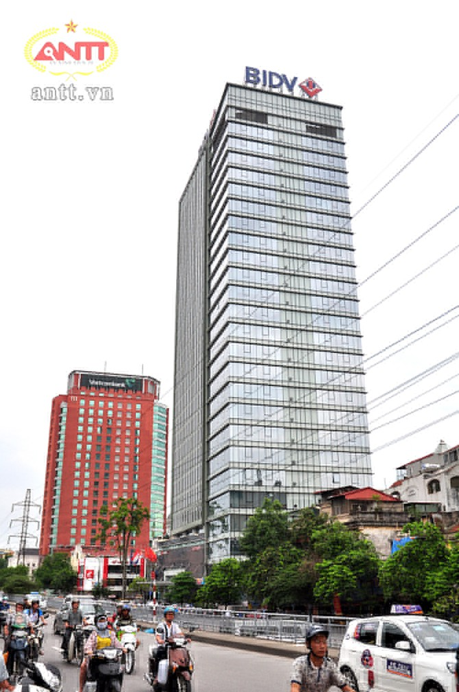 Hội sở chính của BIDV nhìn từ đường Trần Quang Khải