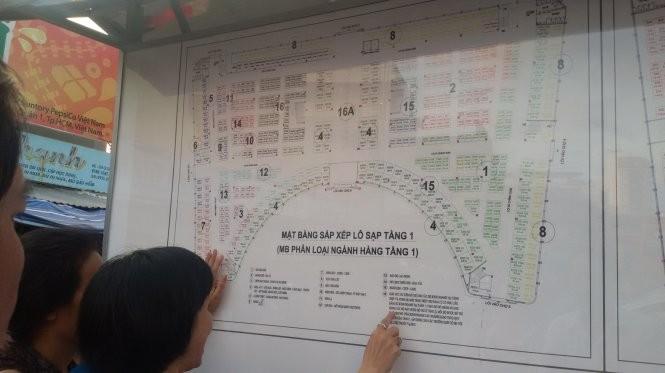 Sơ đồ phương án sắp xếp kiôt, lô sạp tại tầng 1 của dự án chợ Đầm Nha Trang -Ảnh: Phan Sông Ngân