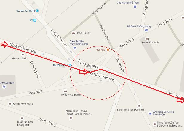 phố Nguyễn Thái Học sẽ tiến về ngã 7 Cửa Nam vào phố Tràng Thi