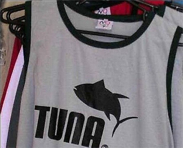8. Tuna Thương hiệu thời trang Puma bị chuyển thành Tuna (cá ngừ) và có logo là một con cá.