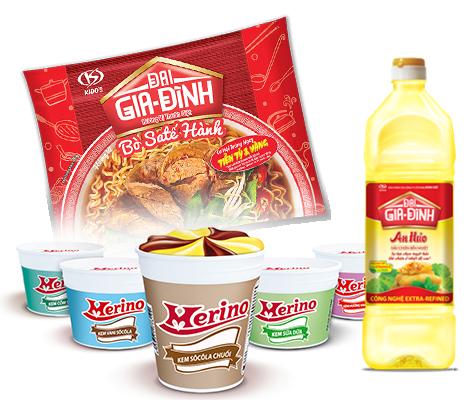 Ba nhóm sản phẩm chính của Kido: Kem, dầu ăn - gia vị và mì ăn liền.
