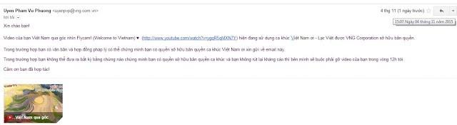 email phía VNG gửi cho anh Bùi Minh Tuấn
