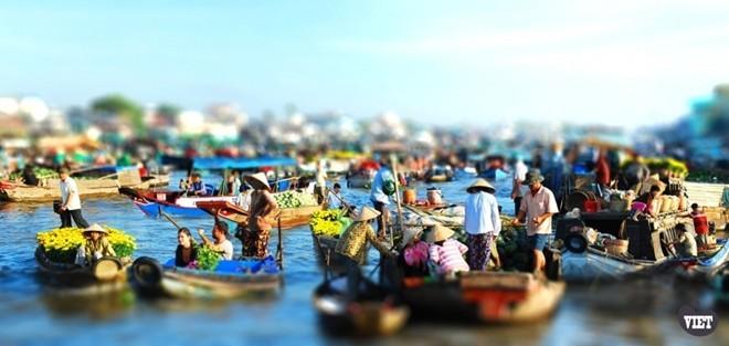 Chợ nổi Cái Răng bày bán thực phẩm tươi ngon, chủ yếu là hoa quả miền Nam Bộ.