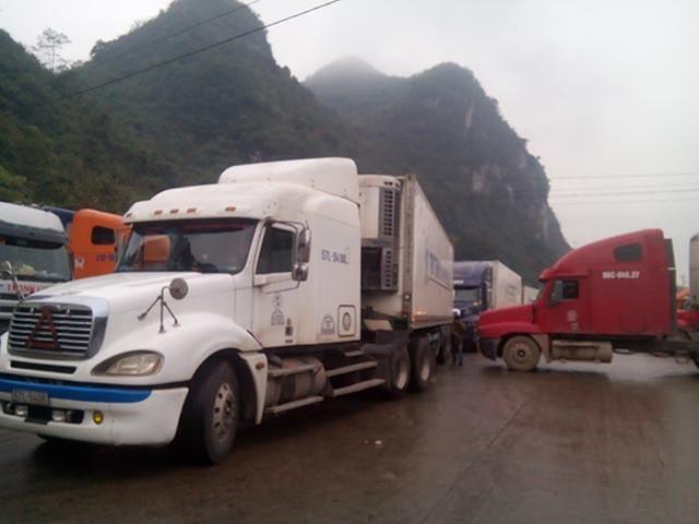Ùn ứ các xe container tại cửa khẩu. Nhiều chủ hàng cho hay họ phải vượt hàng nghìn kilomet tới đây nhưng nhưng đã nằm chờ trong nhiều ngày, trong khi giá dưa, thanh long giảm mạnh. Ảnh: T.CHÍ