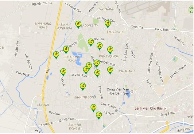 Bản đồ chuỗi cửa hàng Bách hóa Xanh tại Sài Gòn