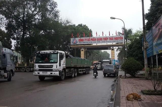 Cổng vào Công ty CP Gang thép Thái Nguyên