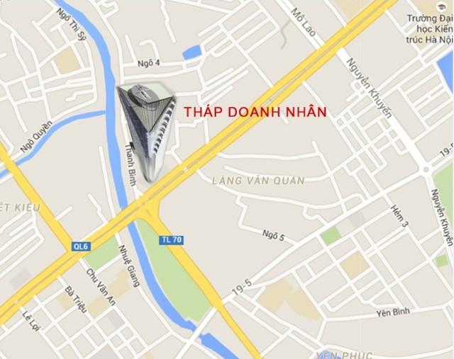 Vị trí dự án trên đường Thanh Bình, phường Mỗ Lao, quận Hà Đông.