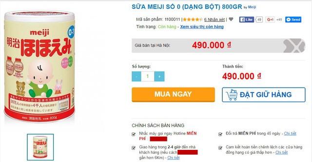 Giá hộp sữa tại một siêu thị Việt Nam (ảnh trên) hiện đang được bán ở mức 490 nghìn đồng.