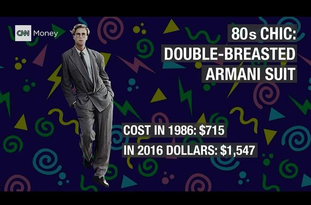 Bộ cánh thời thượng: âu phục hiệu Armani. Năm 1986, bộ quần áo này có trị giá 715 USD, tương đương với 1.547 USD hiện nay