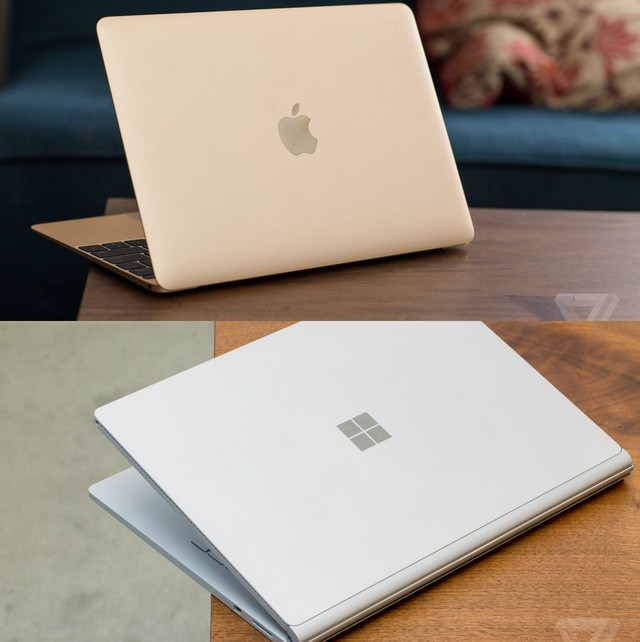 Apple MacBook 12 inch và Microsoft Surface Book 2015.