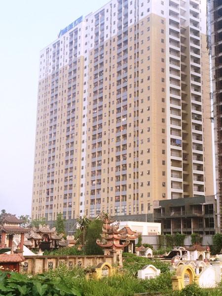 Tòa T1 - Thăng Long Victory ngay cạnh khu nghĩa trang góc giao Lê Trọng Tấn - Đại lộ Thăng Long chưa có nghiệm thu PCCC.