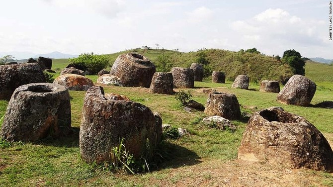 The most widely held belief regarding these huge stone jars' origins -- some more than two millennia old -- is that they were used in prehistoric burial practices.