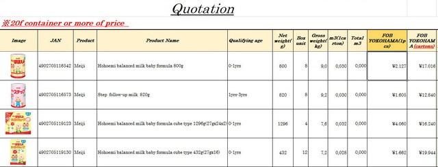 Bảng giá sữa giao tại cảng Yokohama. Mức giá trên chỉ áp dụng cho đơn hàng trên 7.000 hộp sữa.