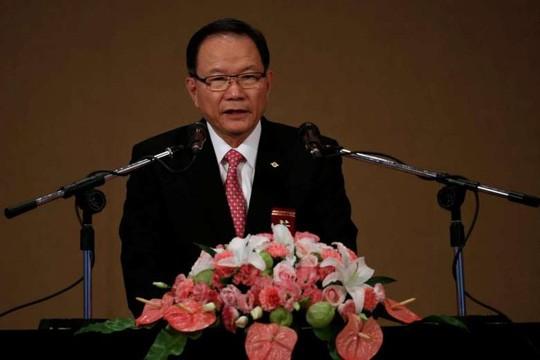 Chủ tịch Tập đoàn Formosa Plastics Jason Lin phát biểu tại cuộc họp thường niên. Ảnh: Reuters