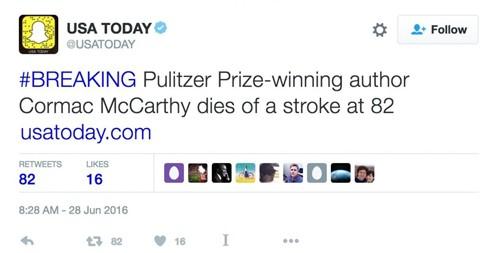 Tài khoản Twitter của USA Todayđưa tin nhà văn McCarthy sau khithông tin giả mạo của Debenedetti