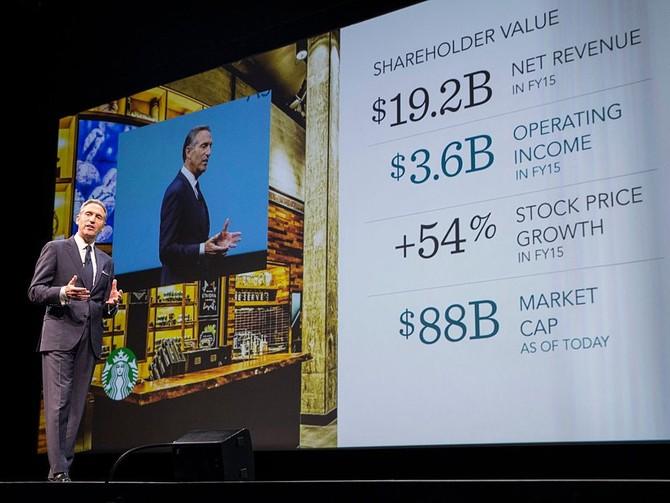Trong 28 năm qua, Schultz đã phát triển các công ty bao gồm hơn 22.500 cửa hàng tại 70 quốc gia mang lại doanh thu hàng năm của $ 19200000000.