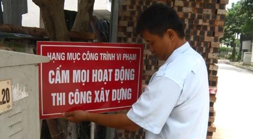 Đình chỉ có hiệu lực các hoạt động xây dựng trái phép tại Dự án XDCTCCNHH Đại Thanh.