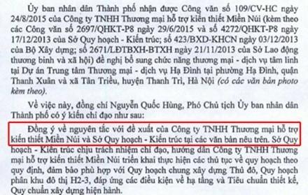 """rích đoạn văn bản cho thấy Hà Nội đã """"đồng ý về mặt nguyên tắc"""" xây dựng khu dịch vụ tâm linh này."""