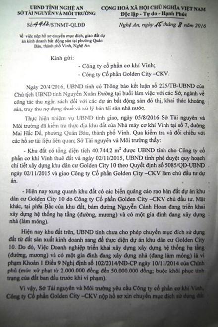 Du an Golden City 10 tai TP Vinh: 'Cam den chay truoc o to', bi dinh chi van tiep tuc xay dung - Anh 3