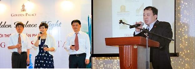 Hình ảnh bà Nguyễn Thị Minh Hồng trong buổi ra mắt dự án Golden Palace và ông Trần Đăng Khoa.