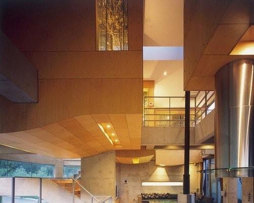Phần trần nhà với những đường cong ấn tượng là một nét nhấn nhá giúp ngôi nhà có thêm dấu ấn.