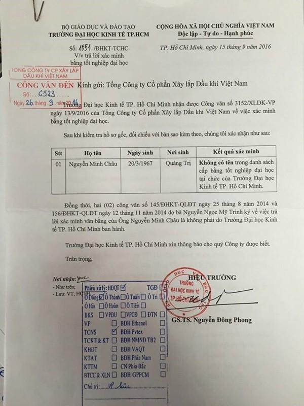 Image result for Công văn do bà Nguyễn Ngọc Mỹ Trinh, Trưởng phòng QLĐT-CTSV trường ĐH Kinh tế TPHCM trả lời xác minh về bằng ĐH của ông Nguyễn Minh Châu được cho là không đúng sự thật.