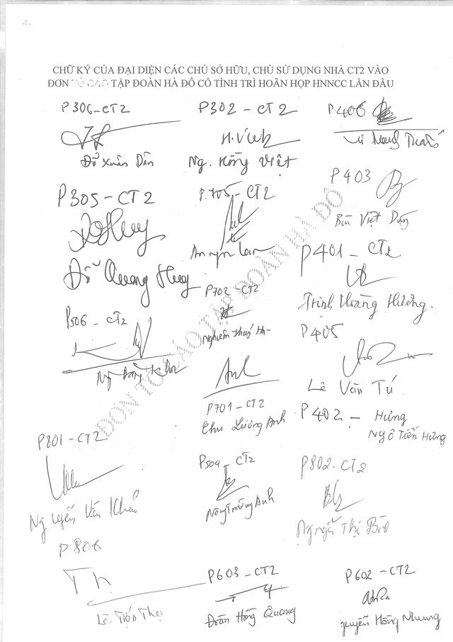 Các cư dân riêng tòa nhà CT2 - Chung cư 183 Hoàng Văn Thái đồng loạt ký vào đơn kiến nghị phản ánh chủ đầu tư cố tình trì hoãn họp HNNCCLĐ.