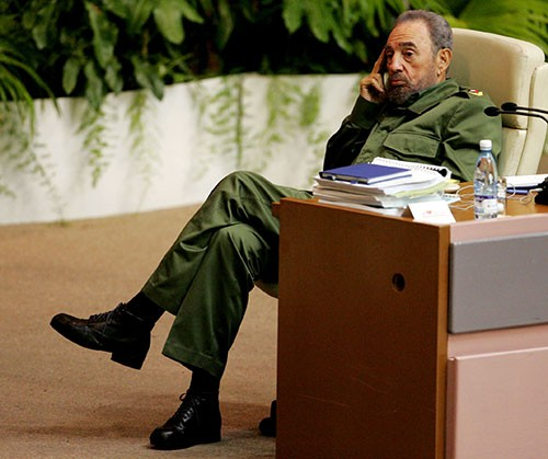 [Caption]Cuban PresidentFidelCastro attends a conference on terrorism in Havanas convention centre June 3, 2005. REUTERS/Mariana Bazo/File Photo