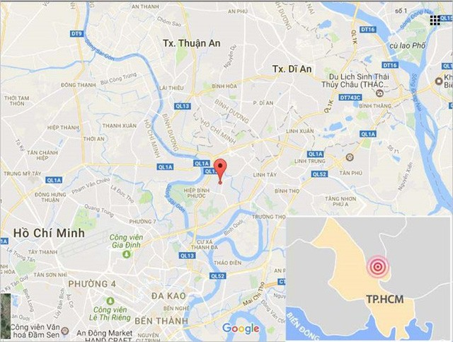 Vị trí nơi xảy ra sự cố cống ngăn triều khiến khu dân cư bị ngập. Ảnh: Google Maps.