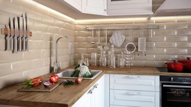 Mọi thứ nội thất trong bếp được sắp xếp vô cùng gọn gàng ngăn nắp. Màu sắc cũng chung một tông màu kem mang lại cảm giác ấm cúng và nhẹ nhàng.