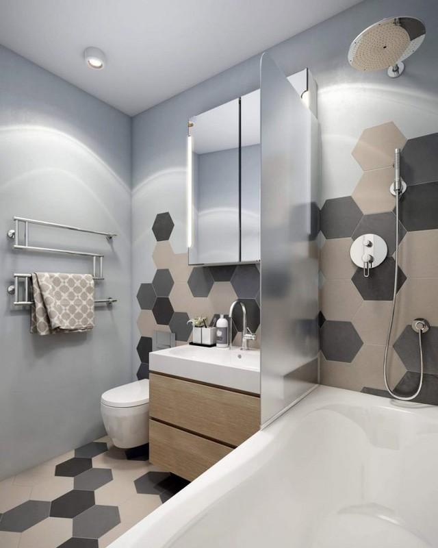 Tuy chiếm không nhiều diện tích trong tổng thể chung nhưng phòng tắm của căn hộ này vẫn mang lại sự thoáng sáng và dễ chịu cho người sử dụng.
