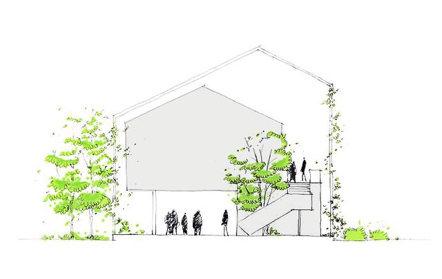 Cây xanh được tận dụng tối đa trồng xe kẽ nơi không gian tầng 1 và xung quanh ngôi nhà xóa nhòa khoảng cách giữa con người và thiên nhiên.
