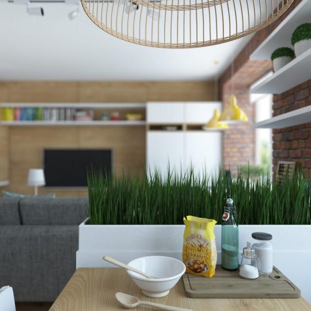 Bức tường trồng cỏ nhân tạo giúp phân chia không gian hai khu vực phòng khách và bếp.
