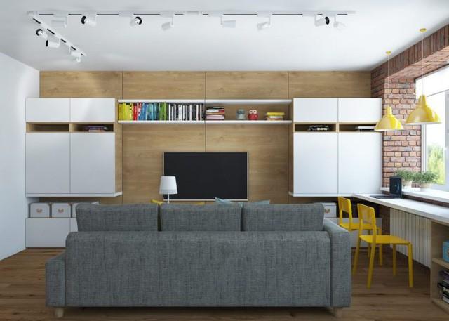 Trên diện tích 65m2 căn hộ có đủ không gian chức năng thoáng sáng: Phòng khách, bếp, phòng ngủ, khu vực vệ sinh.