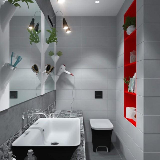 Nếu như phòng khách, phòng ngủ và bếp được tô điểm bởi tông vàng chanh tươi sáng thì ngược lại nhà tắm lại được thu hút bởi màu đỏ tươi.