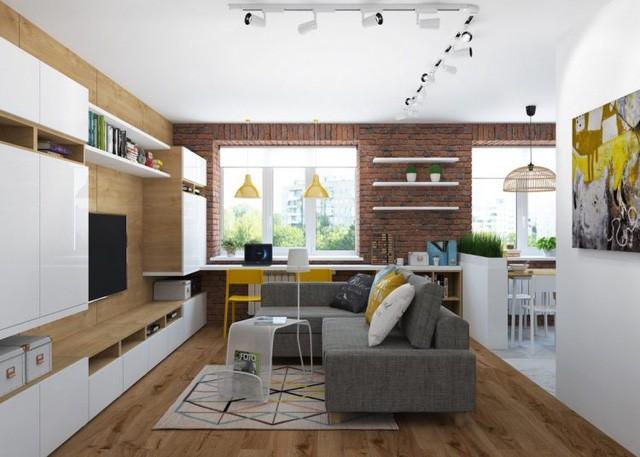 Phòng khách và bếp được bố trí chung một không gian mở thoáng rộng.