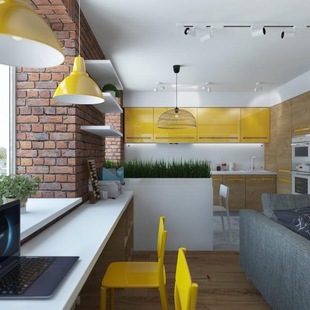 Bức tường gạch thô nối dài từ phòng khách chạy sáng khu vực bếp ăn tạo không gian vô cùng gần gũi và ấm cúng.