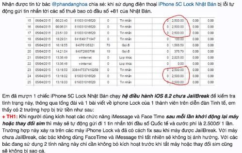 Một chia sẻ về việc bị trừ tiền liên tục trong tài khoản khi dùng iPhone 5C khoá mạng.