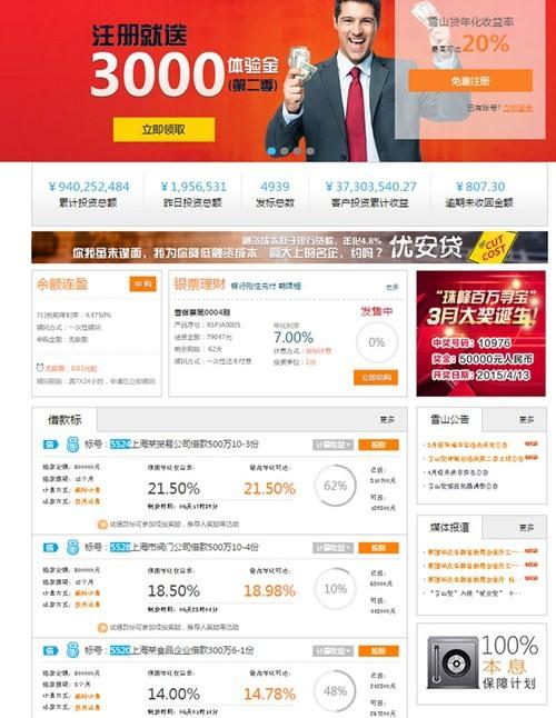 Giao diện Xueshandai.com hiển thị đủ các mức lãi suất từ những cá nhân cho vay doanhnhansaigon