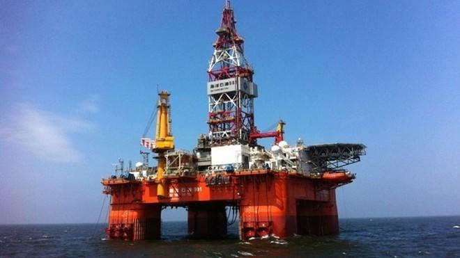 Giàn khoan Hải Dương 981 đang hoạt động trên Biển Đông. Ảnh: AFP