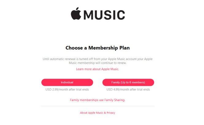 Đăng ký Apple Music với mức phí 2,99 USD/tháng tại VN