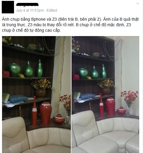 Người dùng đăng tải trên Facebook hình ảnh so sánh ảnh chụp từ BPhone và Sony Xperia Z3