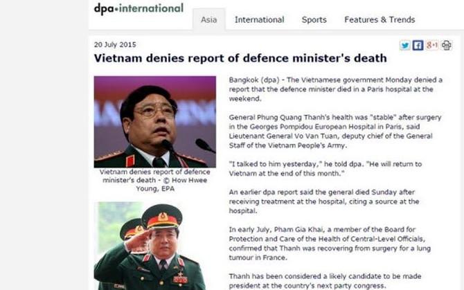 Phùng Quang Thanh, Bộ trưởng quốc phòng, Võ Văn Tuấn, Lê Hải Bình